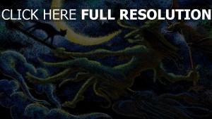 sorcière balai volant chat peinture
