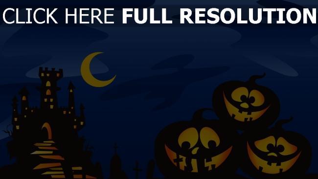 fond d'écran hd citrouille-lanterne château nuit halloween