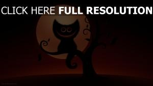 chat sourire branche halloween
