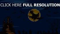 sorcière balai volant château nuit halloween