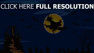 sorcire balai volant chteau nuit halloween