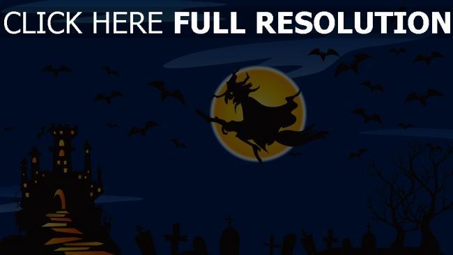 fond d'écran hd sorcière balai volant château nuit halloween