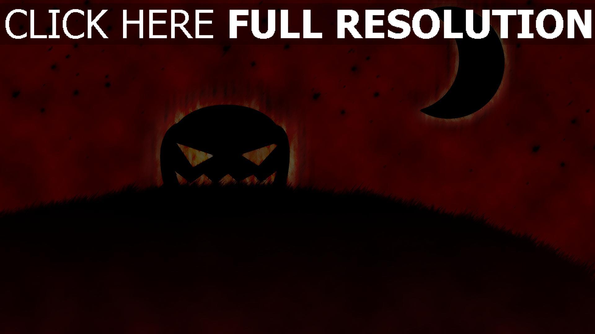 fond d'écran 1920x1080 citrouille-lanterne halloween rouge ciel