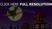 sorcière balai volant lune chaudron halloween