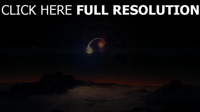 fond d'écran hd spirale planète météorite