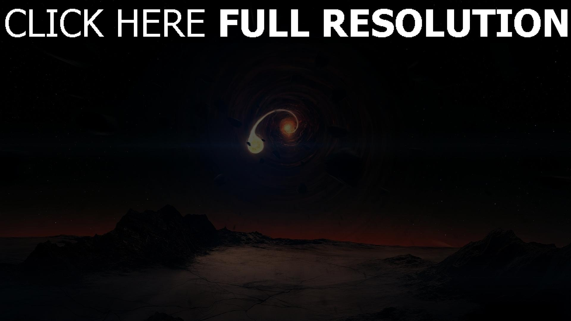 fond d'écran 1920x1080 spirale planète météorite