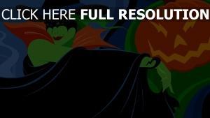 sorcière vert chapeau citrouille halloween