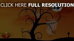 arbre peinture halloween sorcière