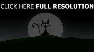 chat lune halloween