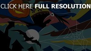 sorcière visage citrouille-lanterne automne
