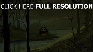 sorcière chaudron forêt foncé