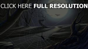 toile d'araignée nuit lune