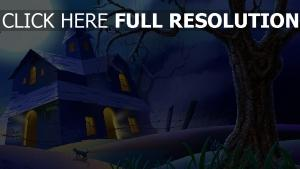 mansion lune arbre halloween