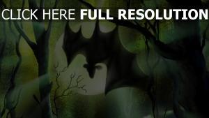 forêt lune chauve-souris halloween