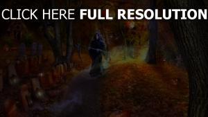 mort route citrouille-lanterne peinture halloween