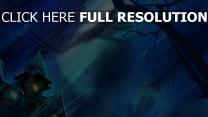 mansion illuminée arbre toile d'araignée