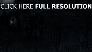 mansion fonce cimetière halloween