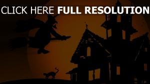 mansion ruines balai volant sorcière