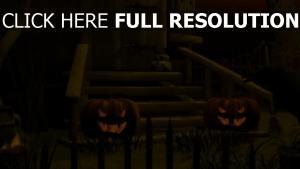 citrouille-lanterne illuminée escaliers