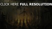 épouvantail terrible feu champ halloween