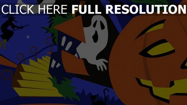 fond d'écran hd citrouille-lanterne fantôme collage halloween