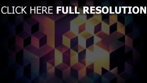 cube structure pourpre illuminée