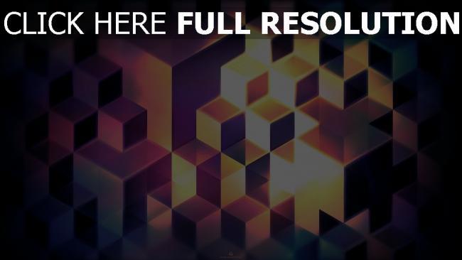 fond d'écran hd cube structure pourpre illuminée