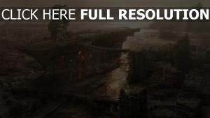 vue aérienne porte-avions fallout 3 ruines