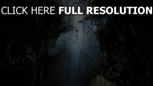 silhouette ruines câble