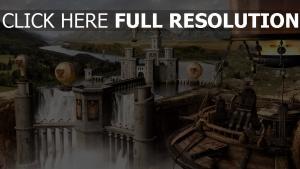 château rivière chute d'eau