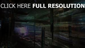 futuriste mégalopole illuminée