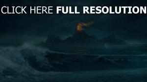 vague île nuageux feu phare