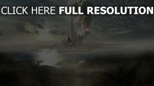 futuriste mégalopole vue de face feu fumée