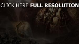 grand château montagne chute d'eau