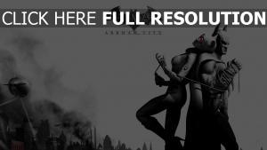 batman arkham city catwoman noir et blanc