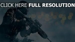 call of duty fusil d'assaut soldat arrière-plan flou