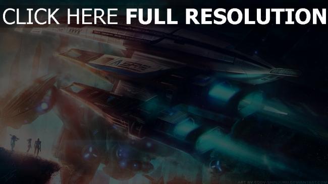 fond d'écran hd mass effect normandy vaisseau spatial turquoise