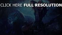 world of warcraft tigre elfe forêt nuit