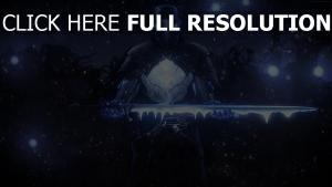 guerrier épée tempête de neige
