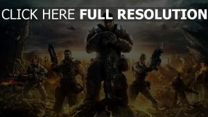 gears of war vue de face personnages principaux,