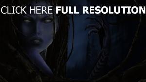 sarah kerrigan visage gros plan starcraft 2