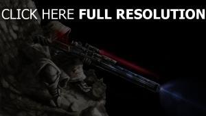 soldat fusil de sniper visée laser capuchon