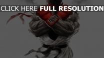 street fighter ryu vue de face gants