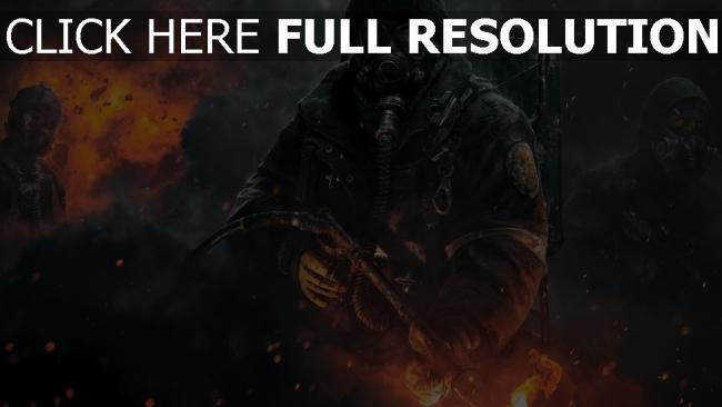 fond d'écran hd the division masque a gaz étincelle lance-flammes