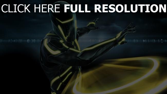 fond d'écran hd tron guerrier néon lumineux