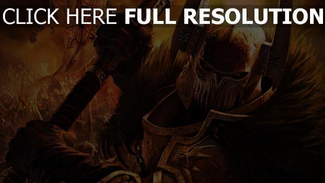 fond d'écran hd warhammer mark of chaos armure démon gros plan