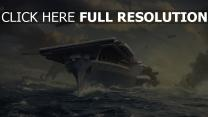 world of warships vue de face porte-avions