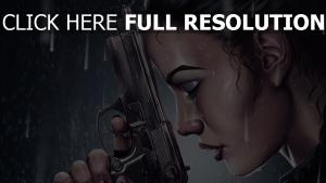 lara croft visage pistolet averse