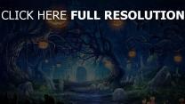 arbre citrouille-lanterne terrible route