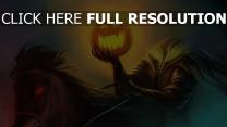 halloween cavalière citrouille-lanterne illuminée
